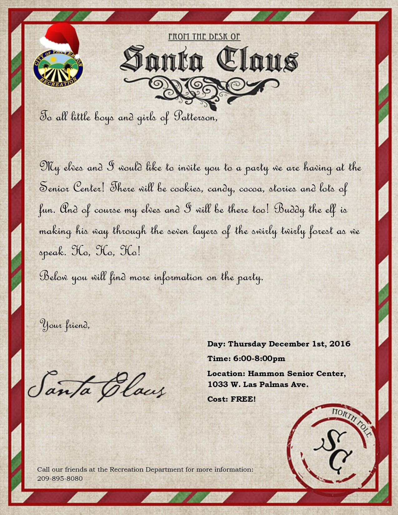Cookies and Coco with Santa - Letter to Santa