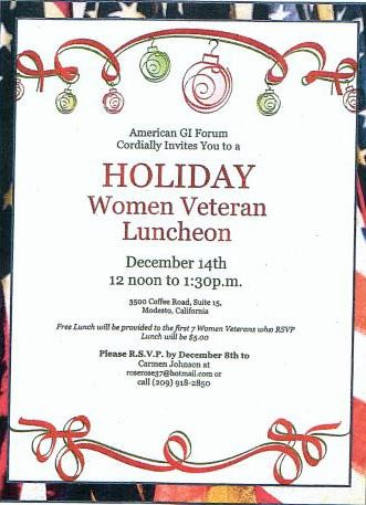 American GI Forum Holiday Women Veteran Luncheon