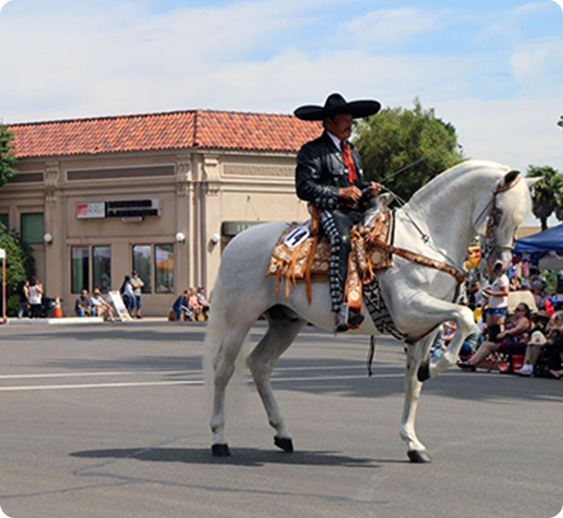 A man with a sombrero riding a horse down the street