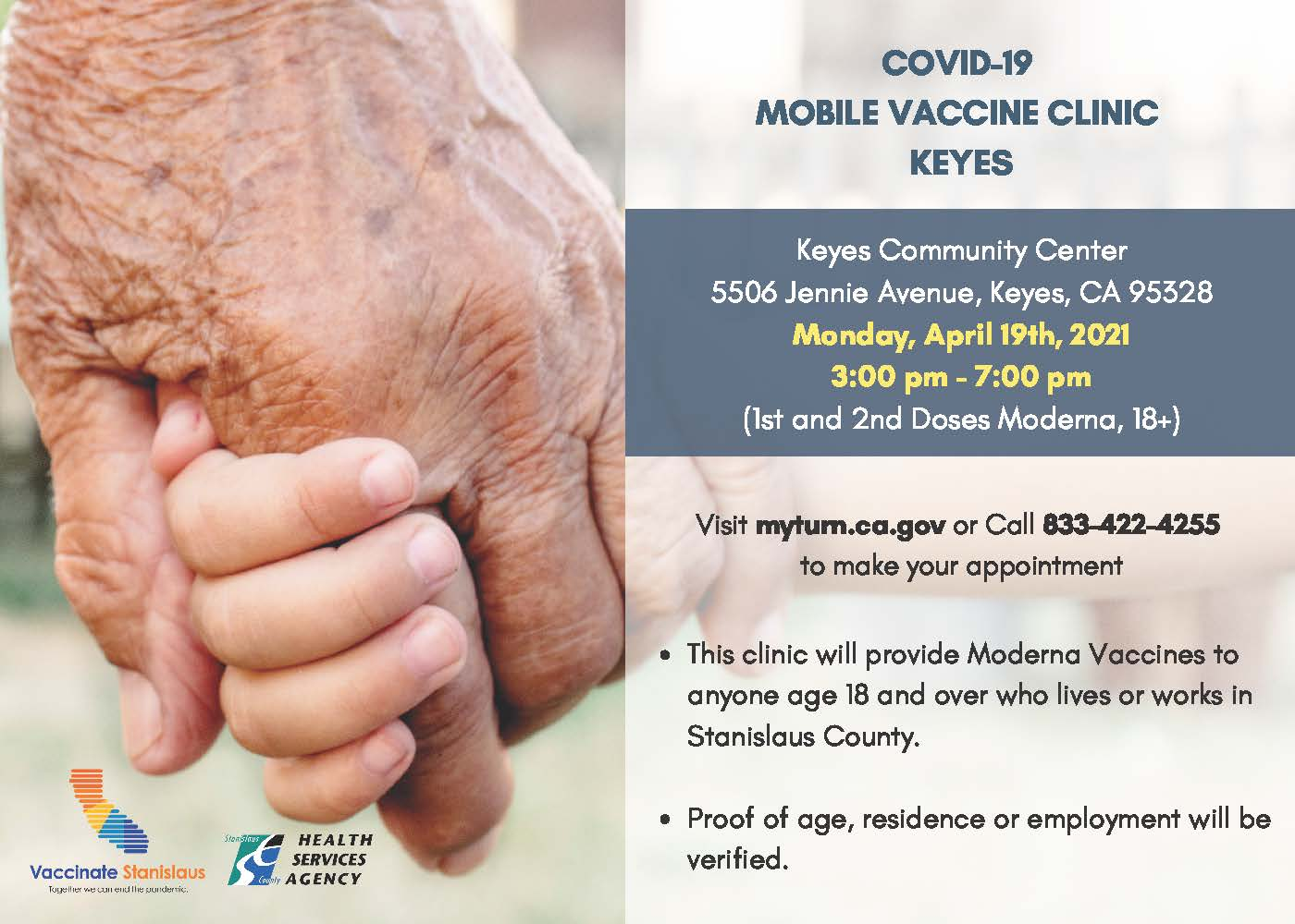 Mobile Vaccine Clinic 5X7 Flier (Keyes)