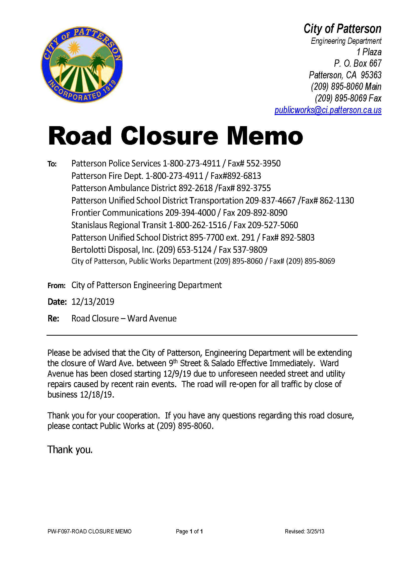 Road Closure Ward Avenue ending 12-18-19